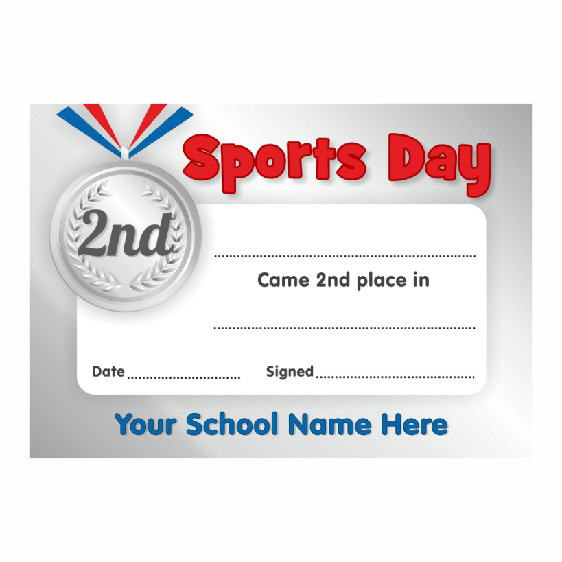 Sports Day 2nd Place Certificates School Stickers
