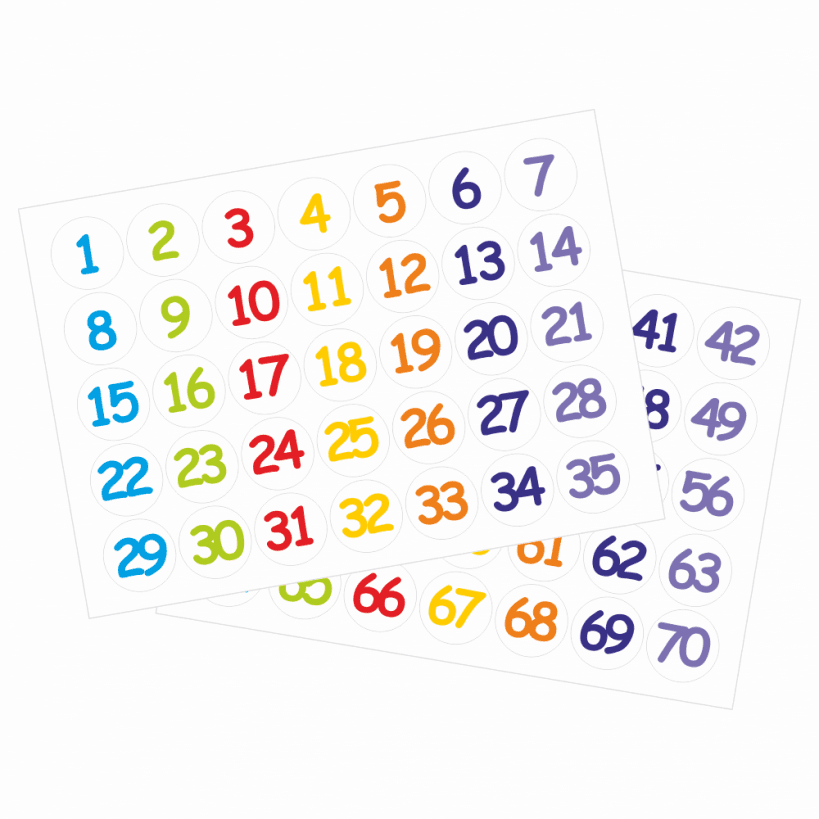 Multi Coloured 25mm Number Stickers 1 70