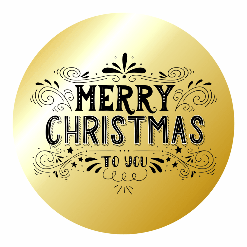 merry christmas gold stickers set 2