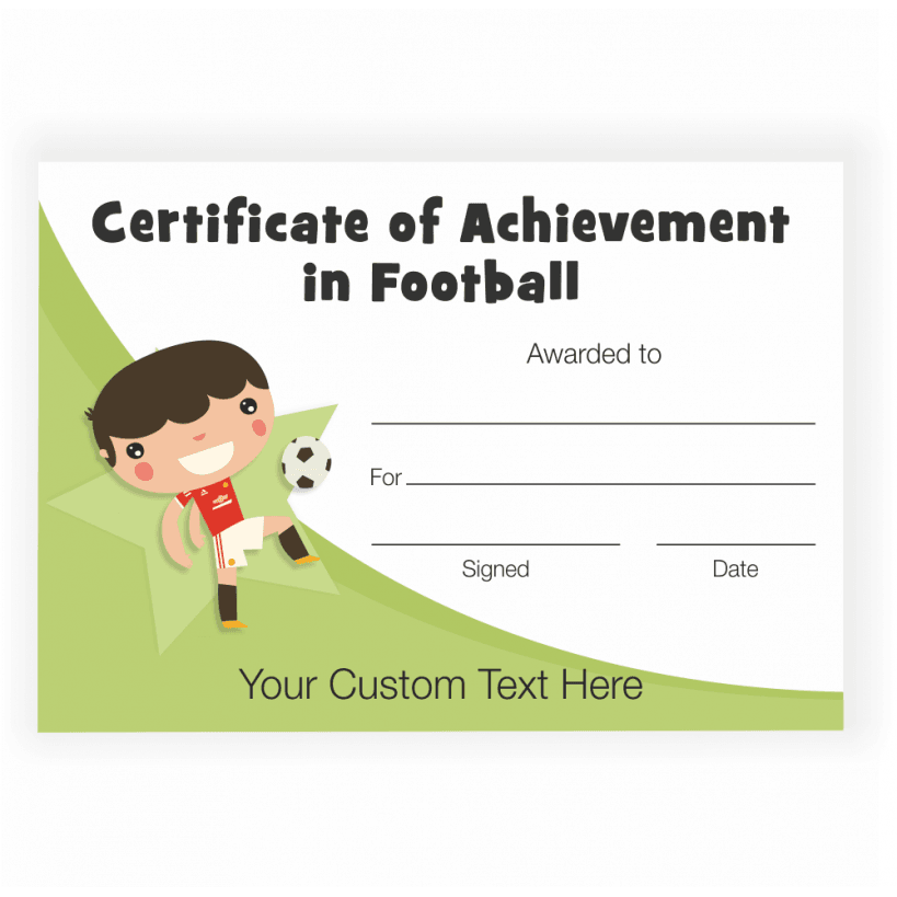 Character Football Achievement Certificate