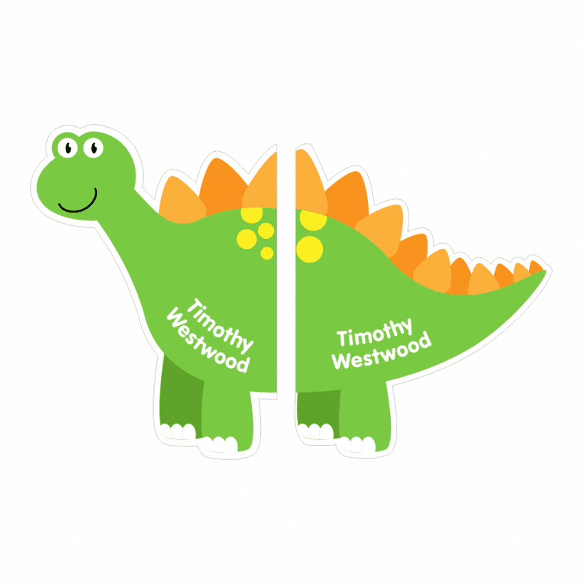 dinosaur left and right shoe name labels