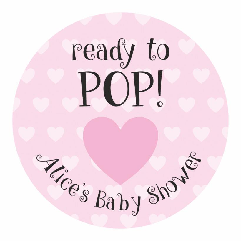 15 Round Mum To Be Ready To Pop Personalised Baby Shower Thank You Sticker Label