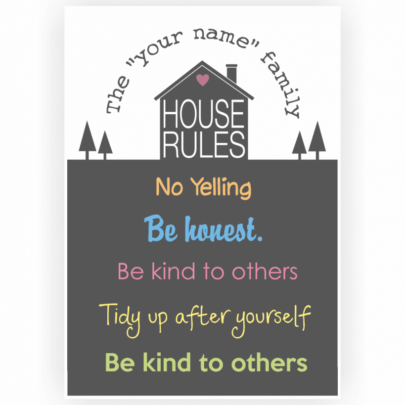house rules poster with custom name and rules