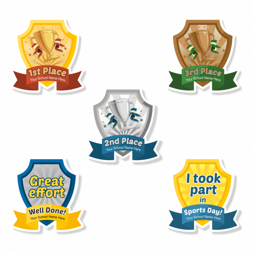 Sports Day Shield Custom Shape Stickers