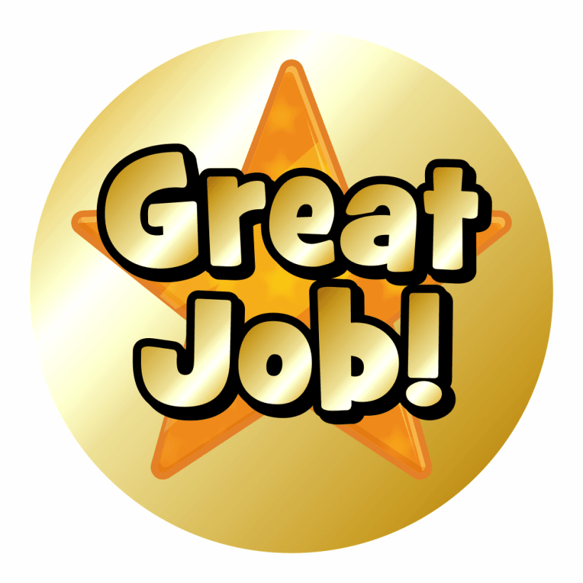 Mini Metallic Gold Star Praise Stickers  Great