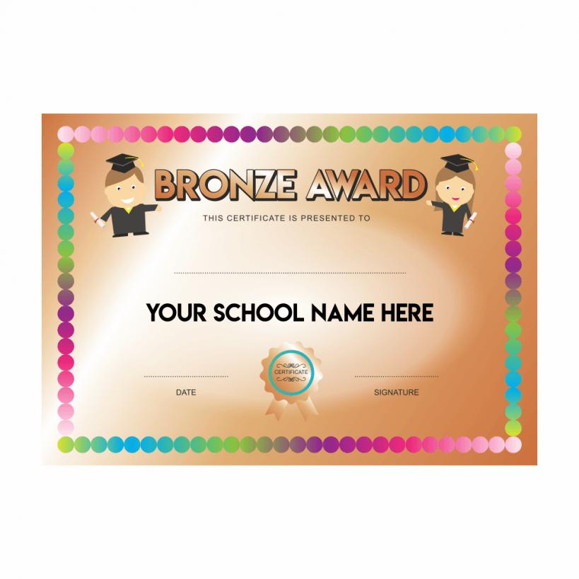 Bronze Award Spot Certificates