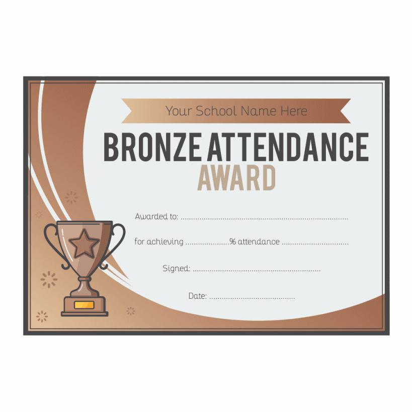 Bronze Attendance Trophy Certificates