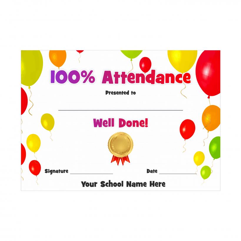 100 attendance award certificate balloons