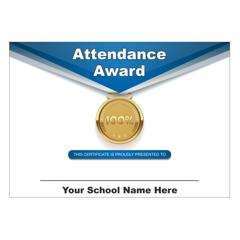 100 attendance medal award certificate available at school stickers