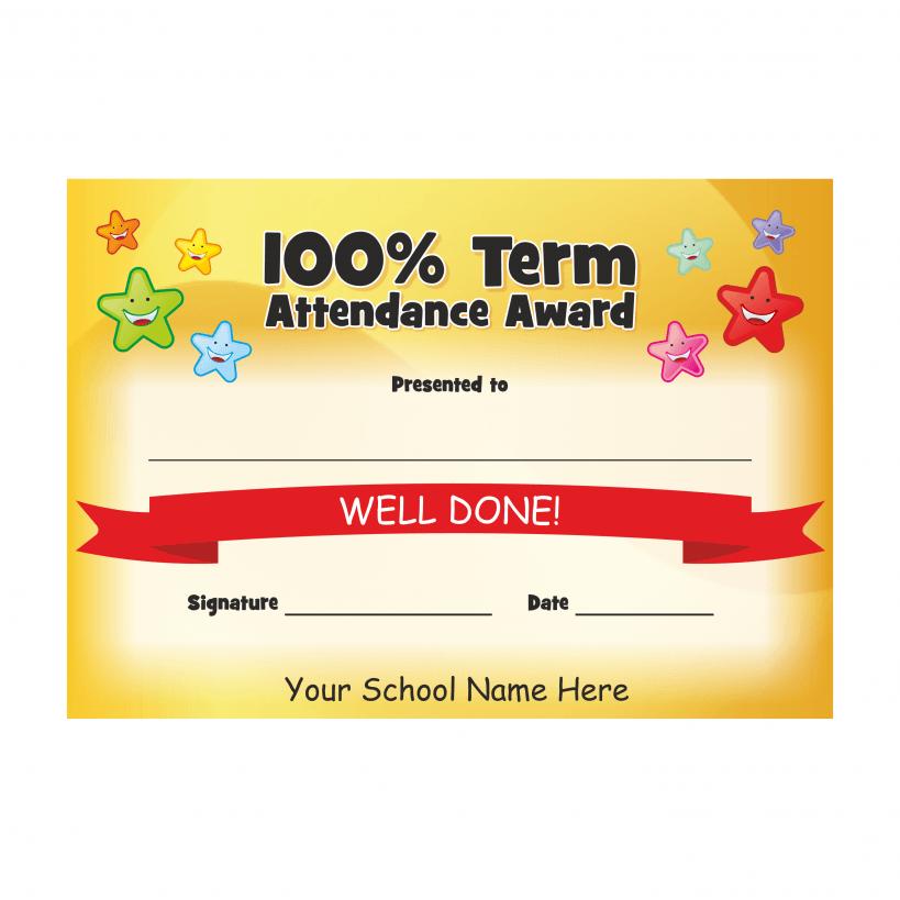 100 term attendance stars award certificates