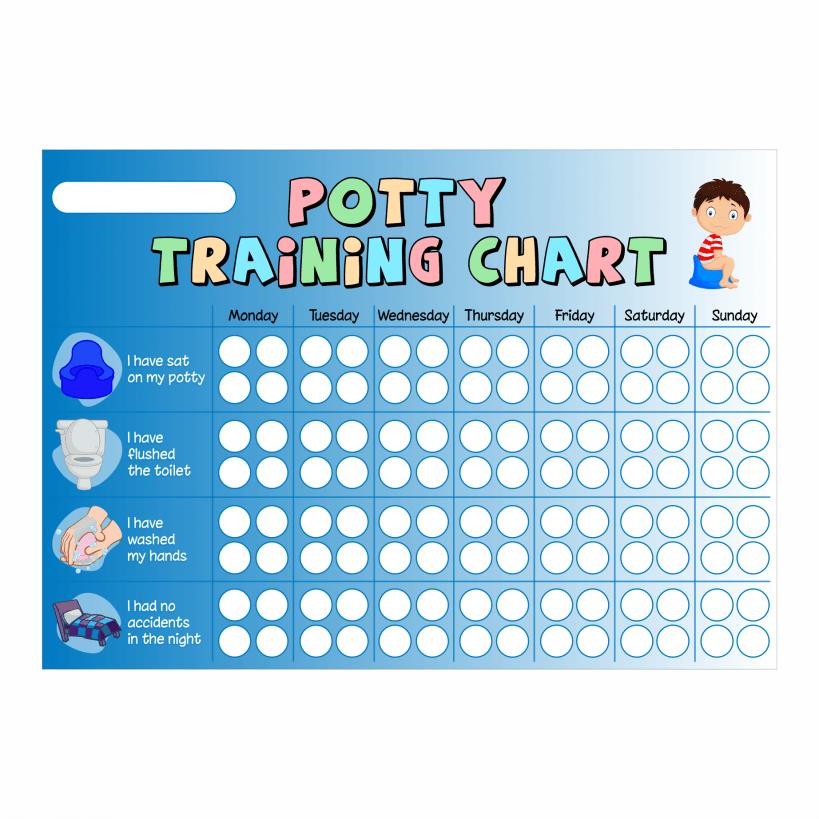a4 blue boys potty chart  u0026 star stickers