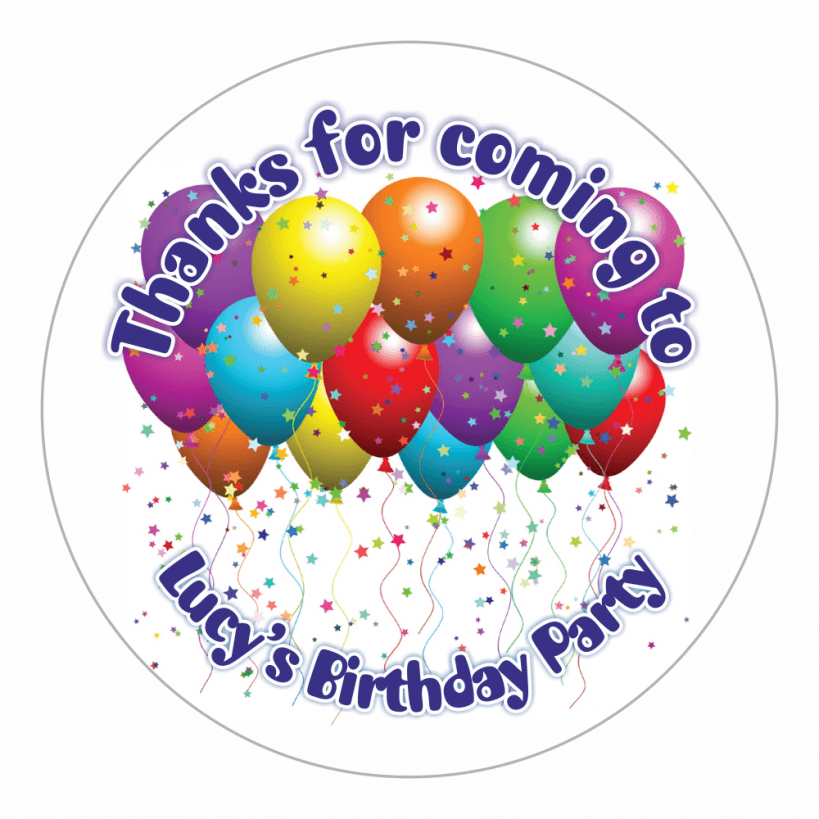 Personalised balloon thank you stickers