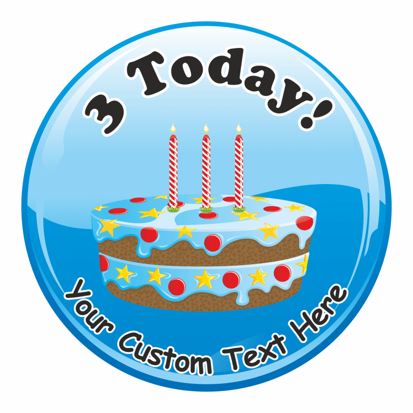 Happy 3rd Birthday Cake Praise Stickers