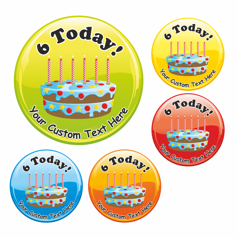 Happy 6th Birthday Cake Praise Stickers