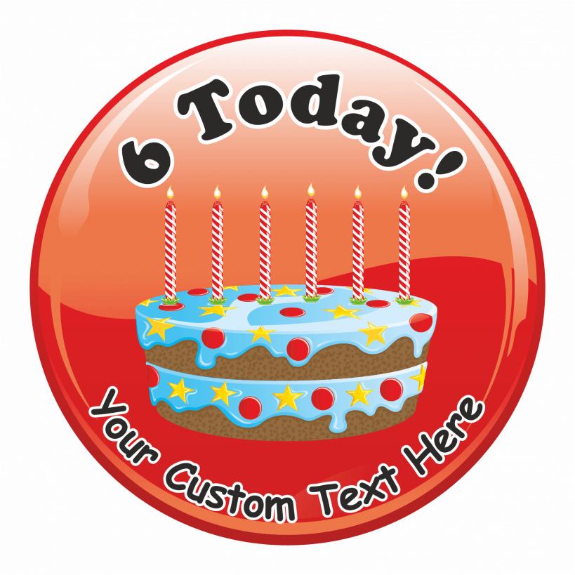 Happy 6th Birthday Cake Praise Stickers