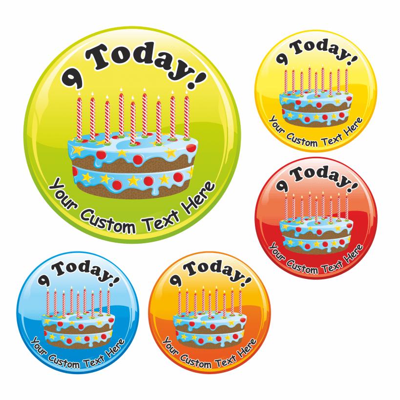 Happy 9th Birthday Cake Praise Stickers