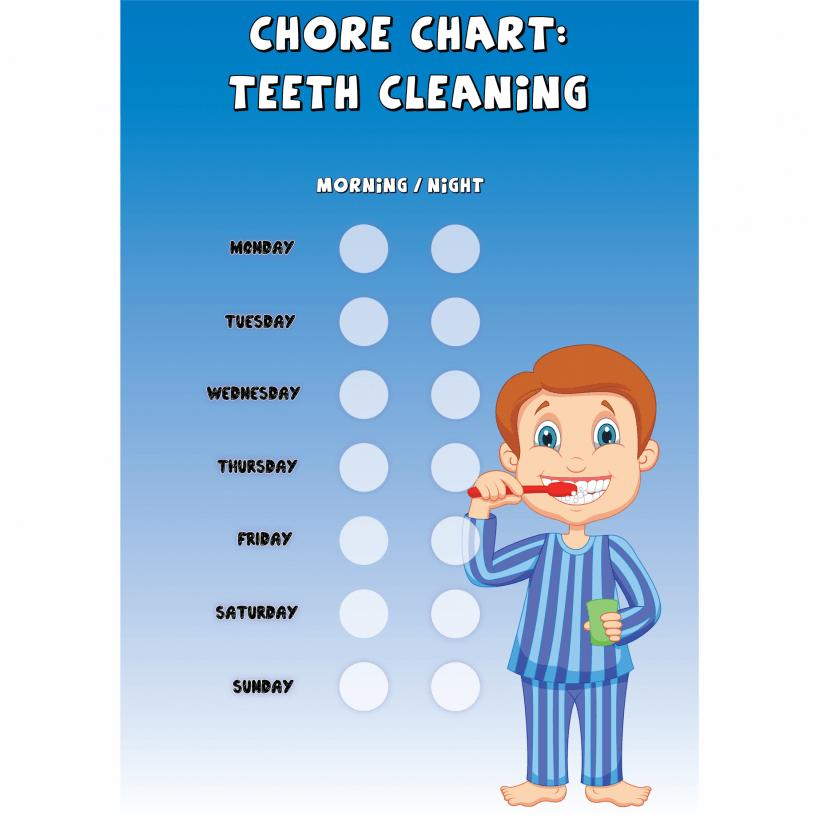 Boys Chore Chart 'Teeth Cleaning' Improve Behaviour