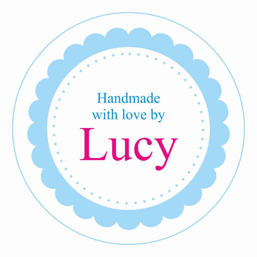 Personalised craft sticker blue flower design