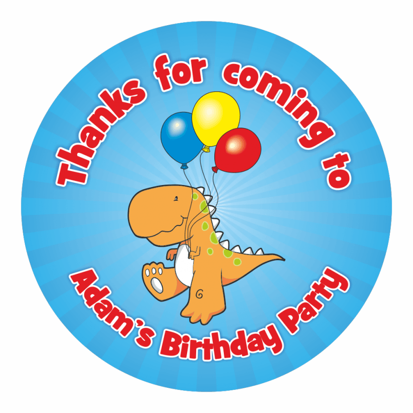 Personalised dinosaur thank you stickers