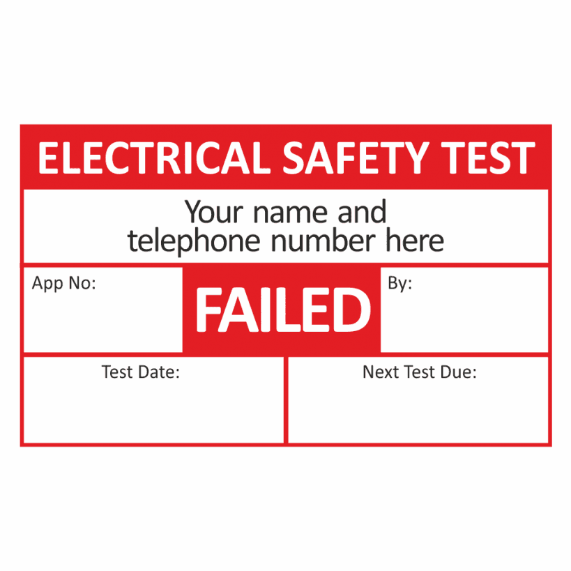 School Stickers UK Personalised PAT Testing Fail Stickers
