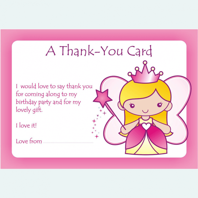 Girls Thankyou Party Cards – Thank You for the Birthday Card