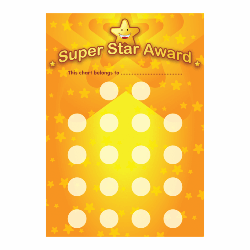 Home a3 super star award reward chart and 18 stickers