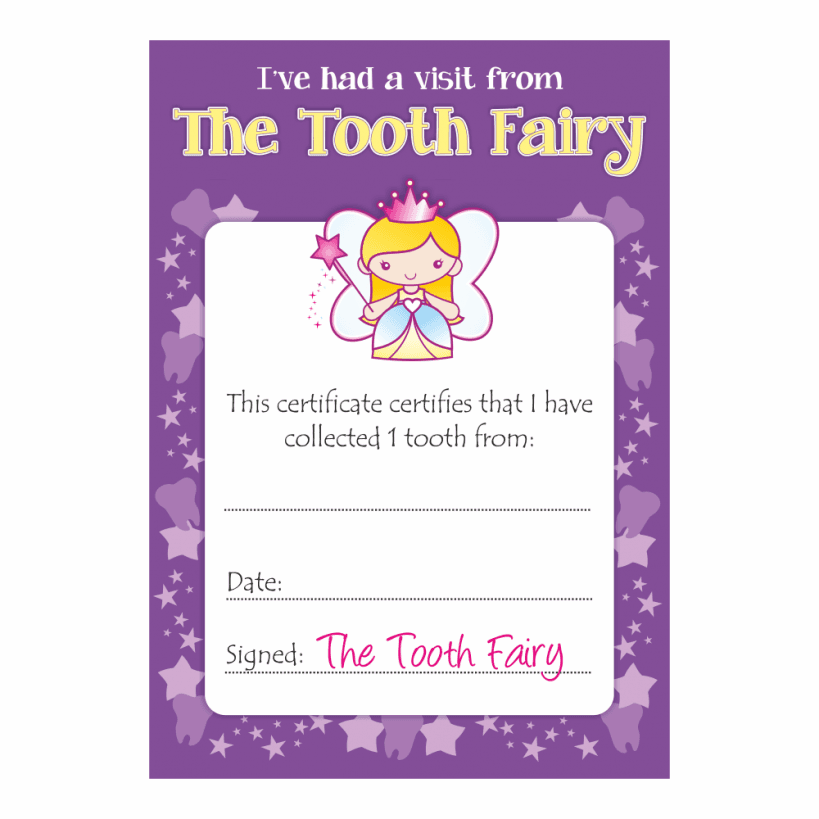 tooth fairy girls certificates school stickers