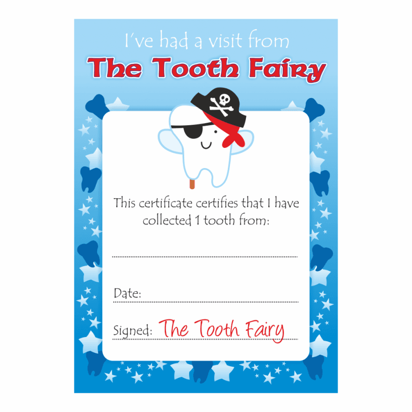 Tooth fairy boys certificates school stickers for Free printable tooth fairy certificate template