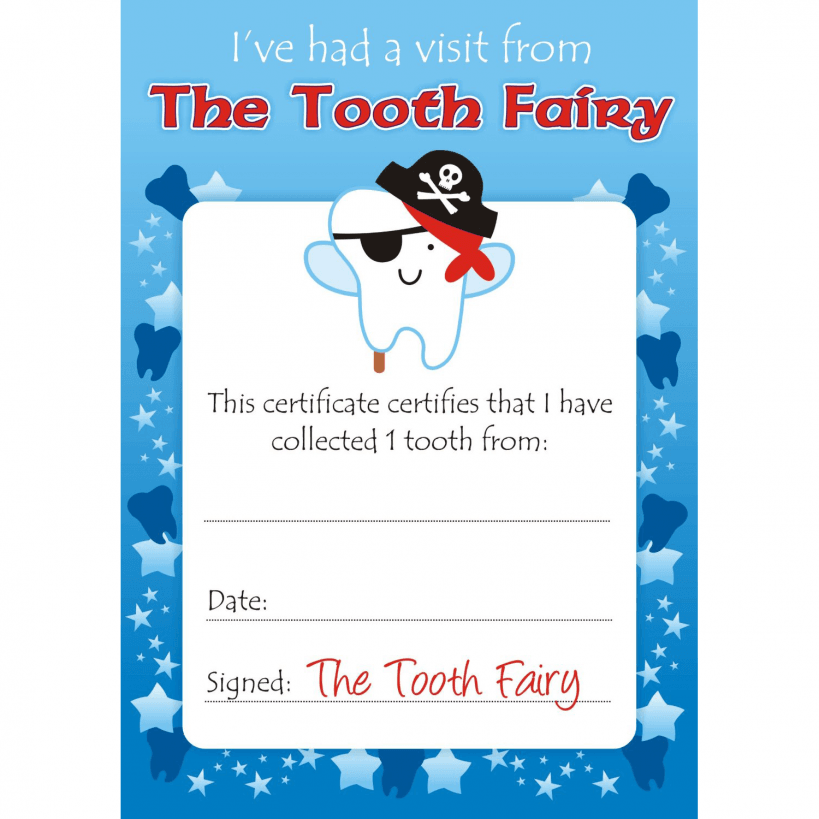 Boys Tooth Fairy Certificates | School Reward Stickers