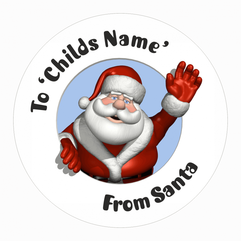 Christmas present labels santa waving